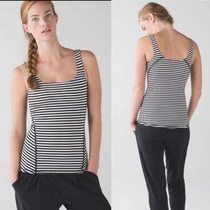 Lululemon Amala Black & White Striped Tank Top